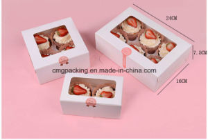 Custom White Card Paper Plain Cupcake Box with PVC Window pictures & photos