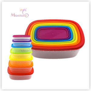 7PCS Rain Bow Storage Box Airtight Plastic Container (set) pictures & photos