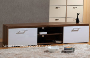 White/Teak High Gloss TV Stand with Drawer pictures & photos
