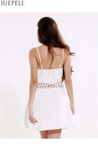 Summer New European and American Women′s V-Neck Harness Dresses Sexy Waist Halter Stitching a Dress pictures & photos