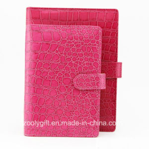 Red Crocodile Leather Ring Binder Planner Organizer Agenda Notebook pictures & photos