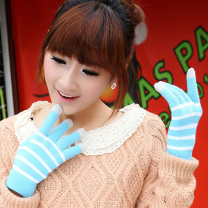 Lady Fashion Stripe Knitted Winter Touch Screen Magic Gloves (YKY5441) pictures & photos