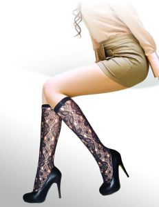 Floral Pattern Fishnet Knee High Stockings 8432-L pictures & photos