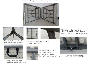 8ft Folding in Half Camping Table pictures & photos