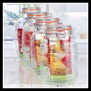 700ml Set Square Glass Storage Jar with Clip Lid pictures & photos