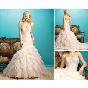 2016 New Fashion Ruffle Mermaid Bridal Gown Cap Sleeve Lace Wedding Dress pictures & photos