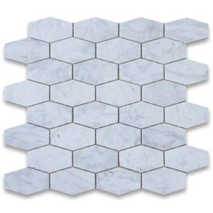 2015 New Design Carrara White Long Hexagonal Marble Mosaic Tile Honed pictures & photos