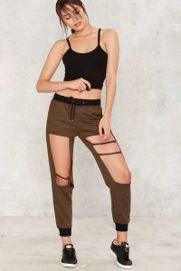Fashion Jogger Hole Women Pants pictures & photos