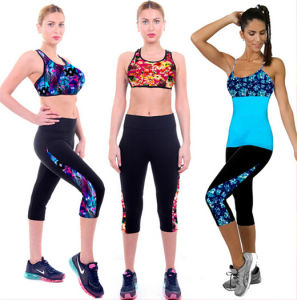 2015 New Designed Women Workout Printed Cropped Pants (56120) pictures & photos