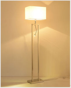 Chrome Modern LED Reading Standing Floor Lamp Lighting for Bedroom, with Milk White Fabric Shade pictures & photos