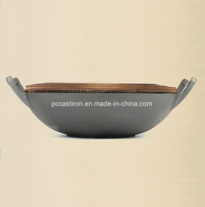 Customize Preseasoning Chinese Wok with Wooden Lid pictures & photos
