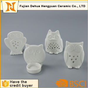 White Ceramic Owl Tealight Candle Holder pictures & photos