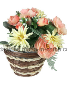 Round Straw Garden Flower Pot with Liner pictures & photos