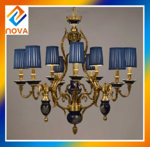 Colorful Bronze Chandelier Light with Colored Fabric Shade pictures & photos