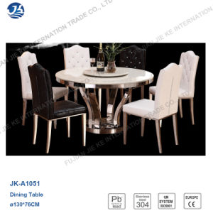 High Quality Round Stainless Steel Marble Table with Small Turn Plate pictures & photos