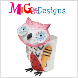 Novelty Design Adorable Owl Metal Garden Flower Planter pictures & photos