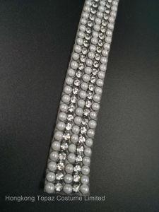 2017 Latest Fashion Rhinestone White Pearl Beads Garment Trim Accessory Hotfix Pearl Chain (TS-042) pictures & photos
