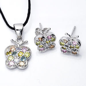 Fashion Jewelry High Quality 925 Silver Multicolor CZ Sets with Silver Plated pictures & photos