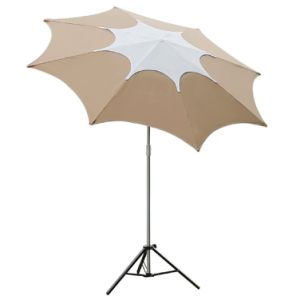 Telescope Adjustable Height Fiberglass Rib Beach Patio Umbrella with 2 Sand Anchors