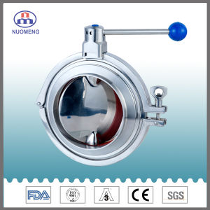 Sanitary Stainless Steel Manual Clamp Type Welded Butterfly Valve pictures & photos