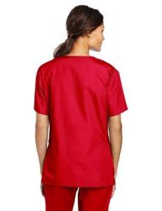 Women′s Scrubs 5 Pocket V-Neck Red Nursing Uniform (A608) pictures & photos