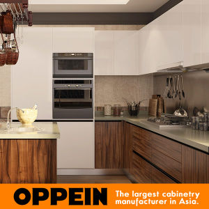 Oppein Modern Dark Wood Grain PVC U-Shape MDF Kitchen Cabinets (OP16-PVC06) pictures & photos