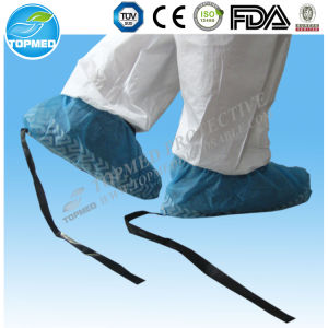 Disposable Non Woven Anti-Static Shoe Cover with Conductive Lace pictures & photos