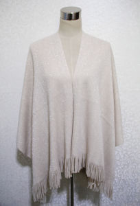 Women Fashion Silver Cord Acrylic Knitted Fringed Winter Shawl (YKY4531) pictures & photos