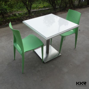 Artificial Stone Resin Restaurant Square Table with Logo pictures & photos