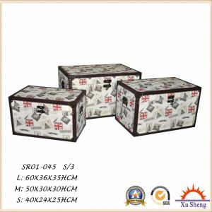 Home Furniture Wooden Storage Gift Box Set of 3 Wooden Trunk with Symbol Pattern pictures & photos