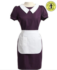 Western Coffie Waiter and Waitress Uniform with Apron White pictures & photos