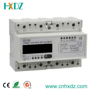 LCD Display DIN Rail Three Phase Electronic Multi-Rate Watt-Hour Meter pictures & photos