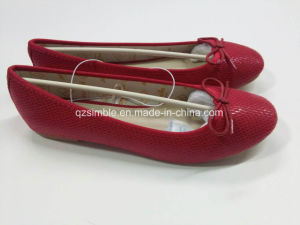 Chinese Red Snake PU Ballerinas Shoes for Ladies pictures & photos