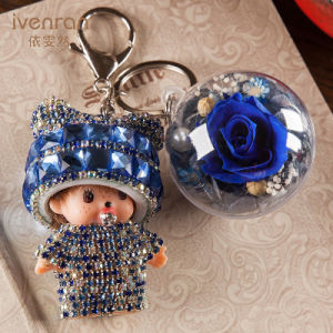Preserved Flower Monchhichi Keychain for Decoration pictures & photos
