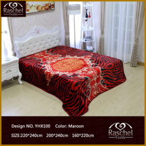 100% Polyester Raschel Throw Mink Blanket