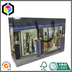 Luxury Purple Color Print Paper Shopping Garment Bag with Ribbon pictures & photos