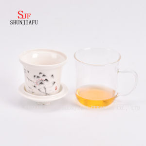 Office and Home Flower Tea Cup, Ceramic and Glass Cup Combine, Tea, Coffee, Flower Tea pictures & photos
