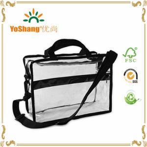 Custom Transparent PVC Briefcase Style Shoulder Bag with Detachable Strap pictures & photos