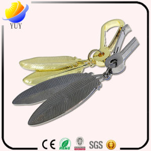 High-End and Big Gold Silver Color Leaf Shape Metal Key Chain with 3D Effect pictures & photos