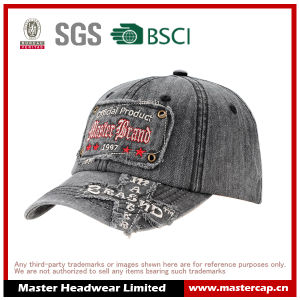 Denim Fabric Applique Embroidery Wash Baseball Hat with Destory pictures & photos