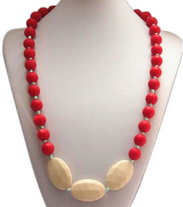 Custom Food Grade Soft Silicone Beads Chewable Necklace with Knotted #01 (FK007)