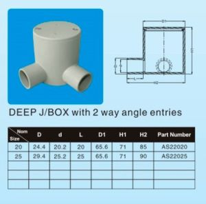 Good Quality Conduit System AS/NZS2053.2: 2001 Australian Standard Plastic UPVC Conduit& Fittings ---Deep J/Box with 2 Way Angle Entries pictures & photos