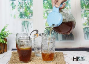 5 Piece Set Juice Milk Tea Water Glass Bottle with Beautiful Plastic Lid pictures & photos