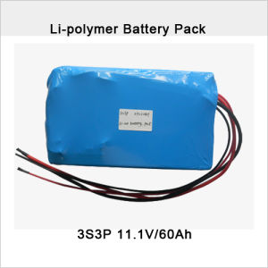 11.1V/60ah with PCM 25A Li-Po Battery Pack pictures & photos