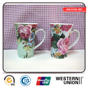 Flower Printing Tall Mug in Porcelain