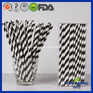 Food Grade Birthday Party Decoration, Black Striped Paper Straw pictures & photos