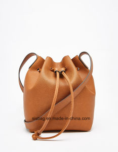 Fashion PU Tan Color Drawstring Tote Bag Women Handbag pictures & photos