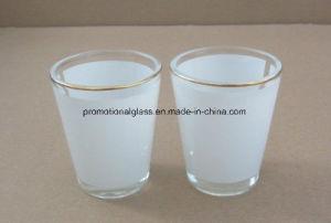 1.5oz Sublimation Shot Glass with White Panel, Gold Rim