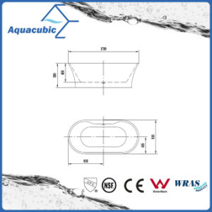 Luxury Pure Acrylic Seamless Free Standing Bathtub (AB6510) pictures & photos