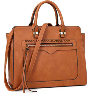 New Fashion PU Vegan Leather Satchel Handbag Women Shoulder Bag pictures & photos